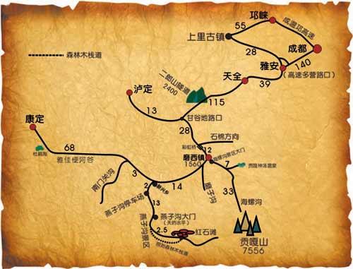 四川旅游线路图手绘
